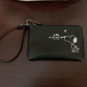 Coach Snoopy Black Leather Wristlet
